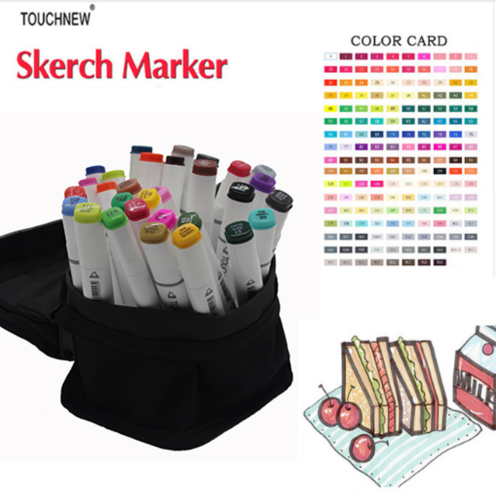 Free shipping two-headed Alcohol oily six generations mark brush pen hand-painted 30 48 color fine markers manga TOUCHNEW touchnew six generation alcohol oily mark pen 30 36 40 color oil based students hand painted suits fine markers drawings manga