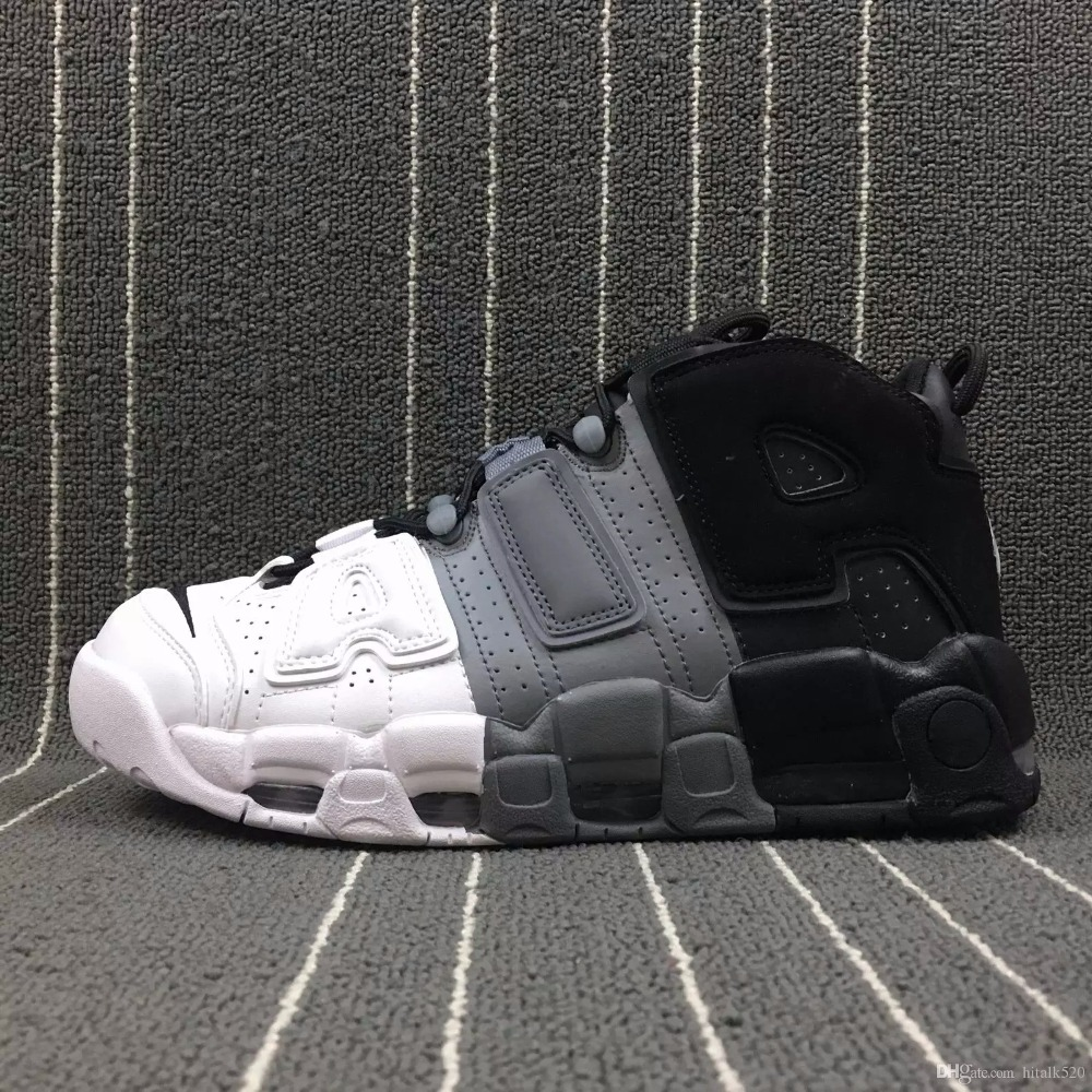 Hommes de Basket-Ball Chaussures Pas Cher 3 m Hommes Scottie Pippen chaussures Sneakers Haute Qualité Plus Uptempo 96 QS Olympique Tri- couleur UNC Air Blanc