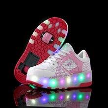 Iki tekerlekli aydınlık Sneakers tekerlekler üzerinde Led ışık için paten ayakkabı çocuk çocuklar Led ayakkabı erkek kız ayakkabı Light Up unisex