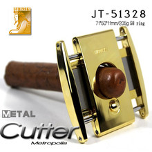 High End Silver Stainless Steel Track Slide Cigar Cutter Knife