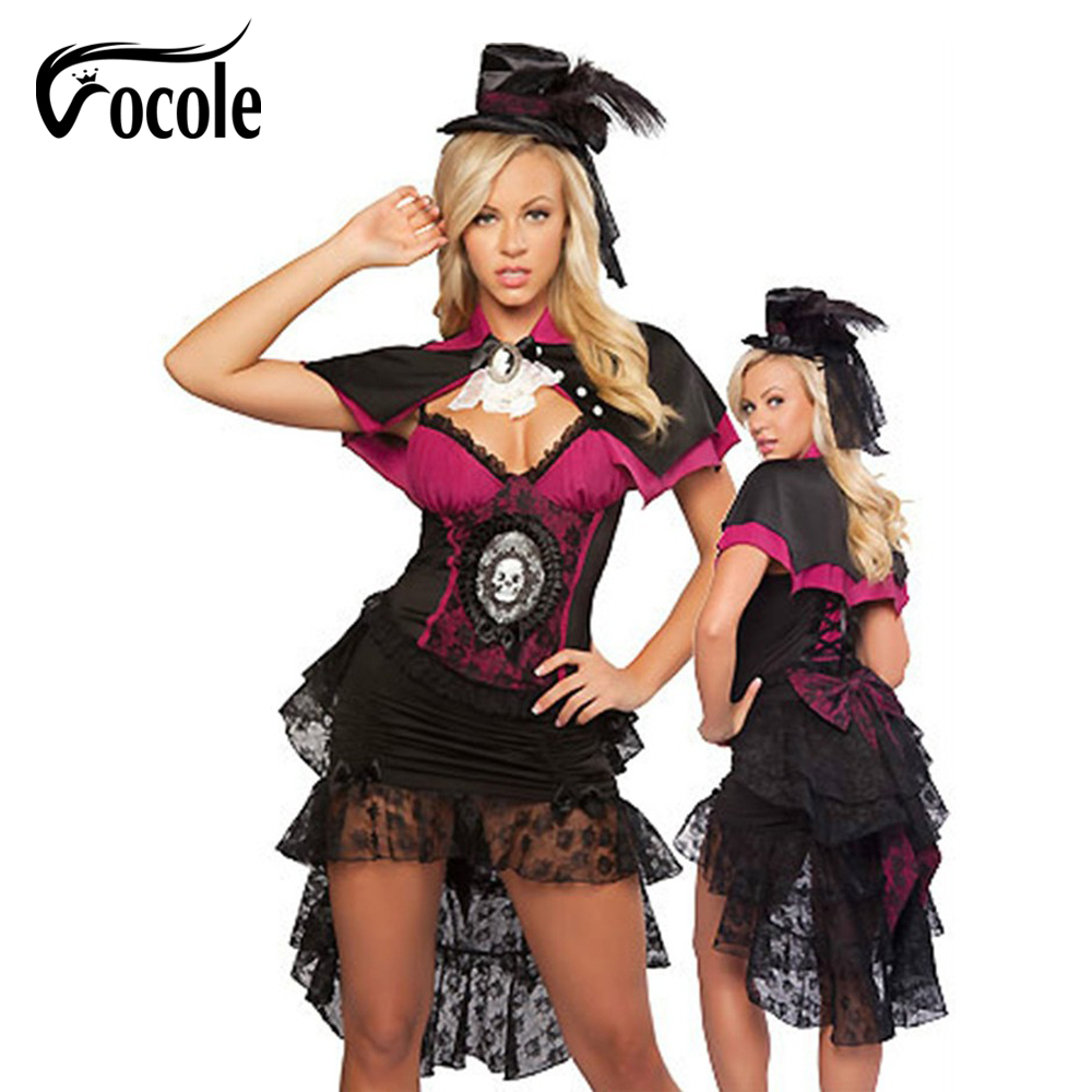 Vocole Sexy Women Halloween Cosplay Magician Costumes Shawl Lace Mesh Skull Fancy Dress Deep V Corset Dress With Hat