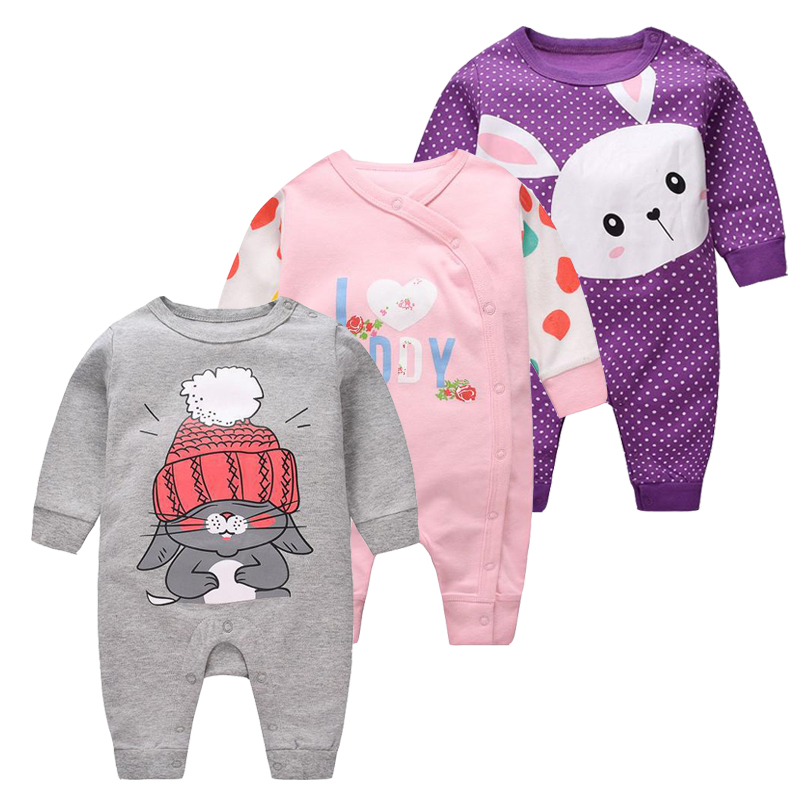 2019 Baby girls Clothes cute Cartoon Newborn girls Long Sleeve baby   Rompers   baby Boys Clothes roupas de infantil costumes