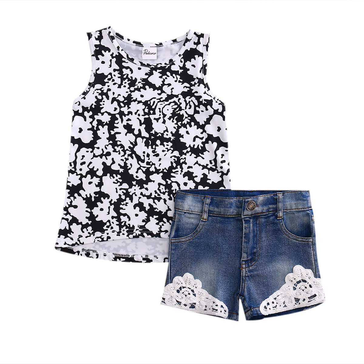2Pcs Kids Baby Clothes Summer Girls Clothes Set Sleeveless Vest Tops+Lace Denim Shorts Pant Children Toddler Girl Clothing girls tshirt brand hollow sleeveless o neck baby girl shorts solid elastic waist 2 pieces kids clothes girls 2792w