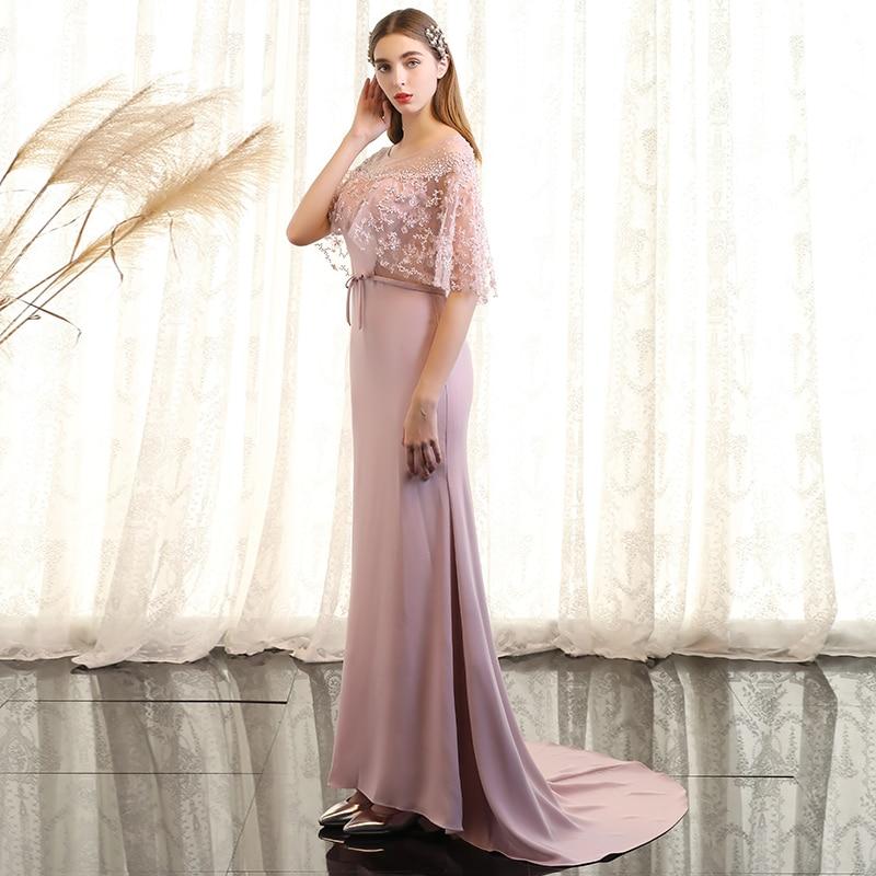 Сладкий розовый овальным вырезом Бисер кружева Vestidos De Festa спинки Русалка Формальное Длинные вечерние платья с поясом выпускного вечера веч