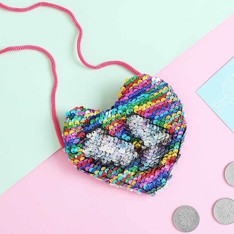 Novas Lantejoulas Coração Coin Purse Meninas Sacos Crossbody Sling Mudança Dinheiro Titular do Cartão Bolsa Carteira Bag Bolsa Para Presentes Dos Miúdos mini Saco