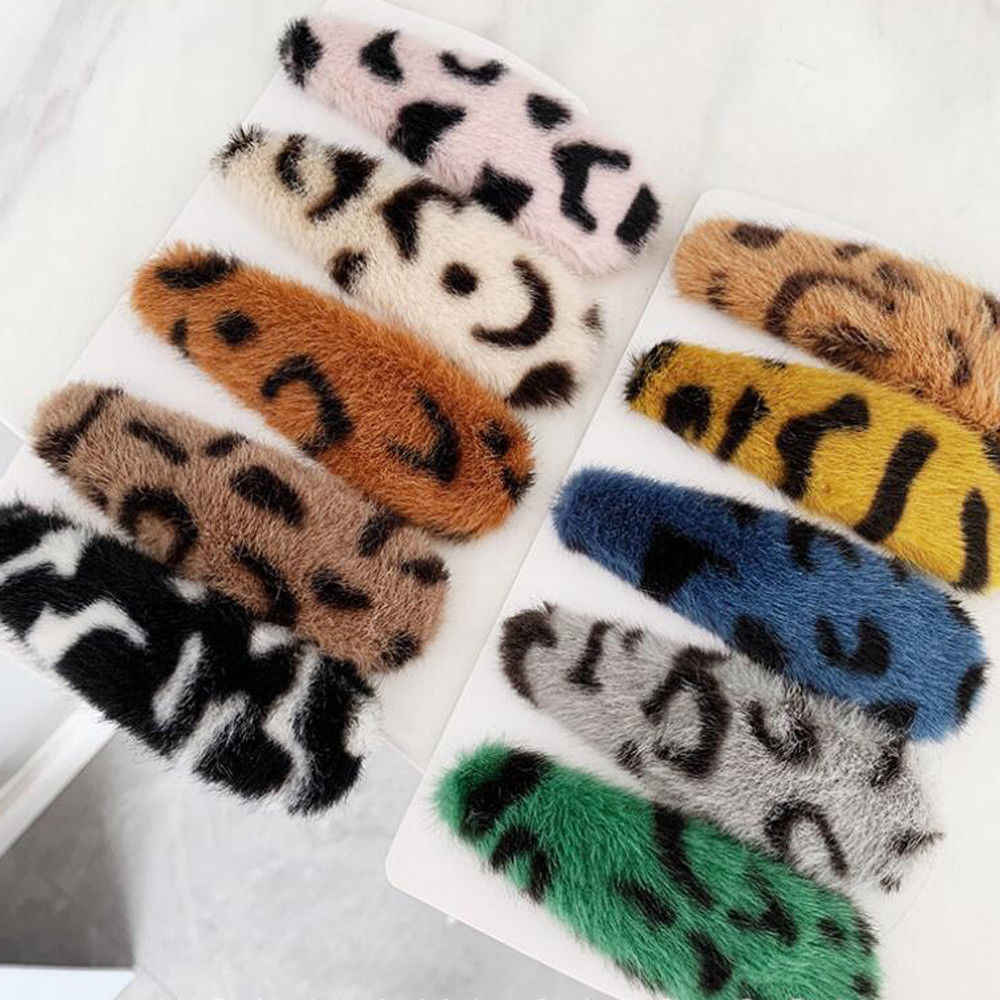 Korean Fashion Women Leopard Plush Bobby Snap Stick Pin Barrette Clip Hair Accessories Beauty Styling Tools Dropshipping