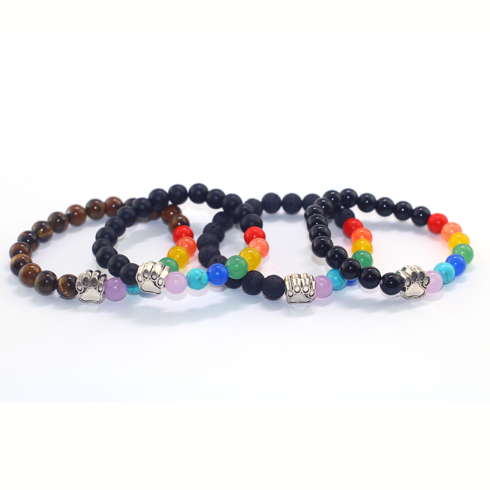 Chakra Natural Rainbow Color Crystal X Lava Lucky Energy Women Men Unisex Bracelet Fortune Jewelry