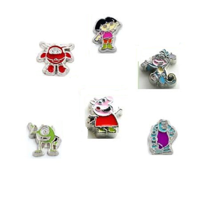 Alloy Floating Charms Silver Cartoon Characters Living Charm For Living Floating Glass Locket