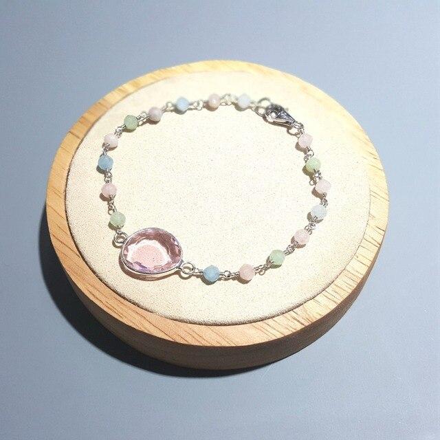 Lii Ji naturel Multi béryl avec cristal rose 925 argent Sterling 18K plaqué or Bracelet fait main pour les femmes livraison directe