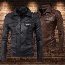 lapel motorcycle mens leather jacket Single-breasted short coat Personalized jackets fashion Embroidery flower clothing street