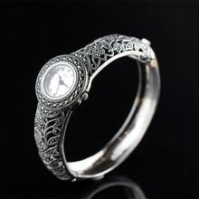 Bens de prata do vintage prata tailandesa atacado 925 jóias de prata esterlina senhoras nobres relógio de prata elegante e refinado pulseira