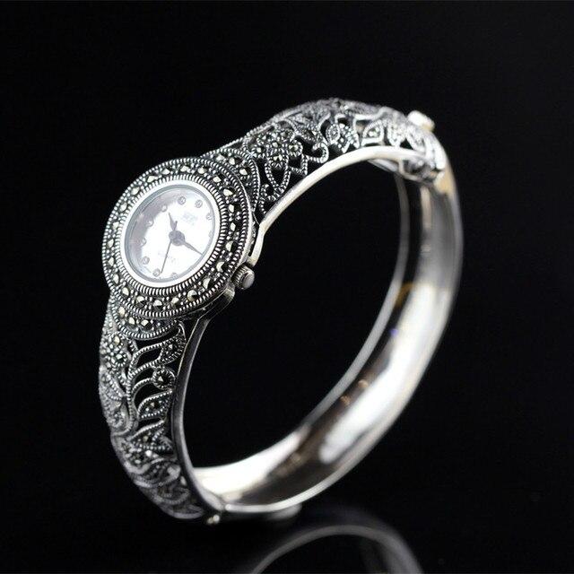 Articles Vintage en argent Thai argent vente en gros 925 bijoux en argent Noble dames montre en argent Bracelet élégant et raffiné