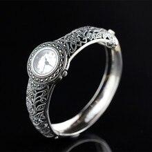 Vintage srebrny towarów Thai srebrny hurtownie 925 Sterling Silver biżuteria szlachetny panie srebrny zegarek elegancki i rafinowany bransoletka