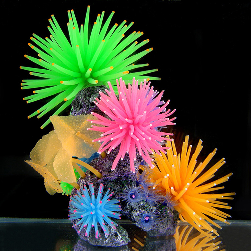 Silicone Aquarium Fish Tank Buatan Coral Tanaman Underwater Ornament Decor 1 pcs