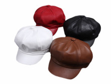 Fashion Women Artist Beret Cap French Style Vintage Solid Colors Leather Beret Hat Ladies Classic Berets