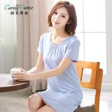 Nightgown summer short-sleeve women's modal thin sexy medium-long sleepwear summer solid color cotton plus size medium skirt