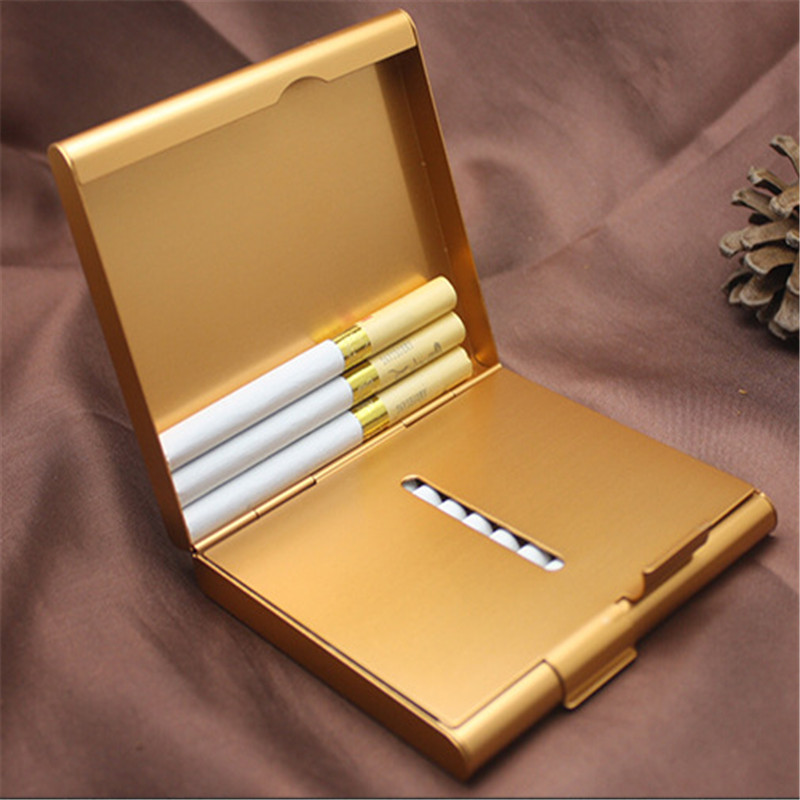 Aluminum Cigarette Case Storage for 20 Cigarettes Holder Double Sided Flip Open Pocket-Cigarette Case Storage Container Gifts image