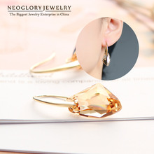 Neoglory Yellow Austrian Crystal Dangle Drop Earrings