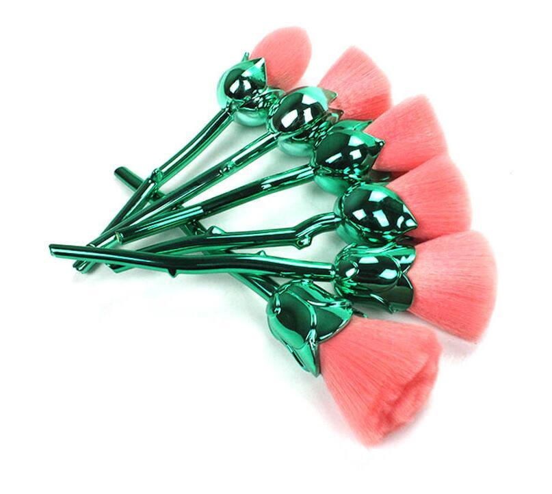 Free Shipping 6Pieces/1set Soft Fiber Creative Green Rose Blusher Powder Makeup Brush Sets Kit Wholesale 2 pieces of battery free shipping wholesale 100