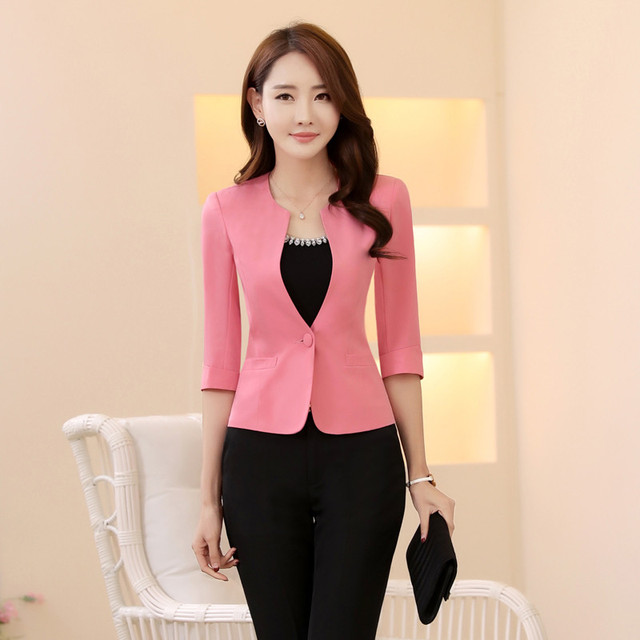 be0629d5d1ee2 Plus Size 3XL Pink Half Sleeve Formal Blazer Coat Professional Jackets For Ladies  Office Uniforms Outfits Female Tops Blazers