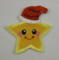 Custom 100% embroidered Christmas Hat Star Embroidered patch