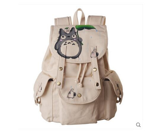 Anime Tonari no Totoro Cosplay 2017 new Korean version of the campus hand painted canvas bag leisure backpackAnime Tonari no Totoro Cosplay 2017 new Korean version of the campus hand painted canvas bag leisure backpack