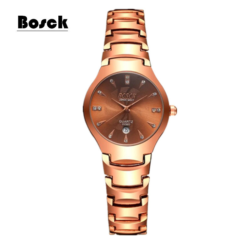 BOSCK Quartz watches Fashion Watch Women Dress relogio feminino waterproof Tungsten Steel gold bracelet Golden lady watches