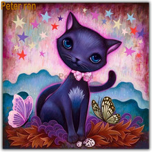 Peter ren DIY Diamond painting cross stitch 5d round icon full diamond embroidery mosaic Rhinestone Cat and butterflies