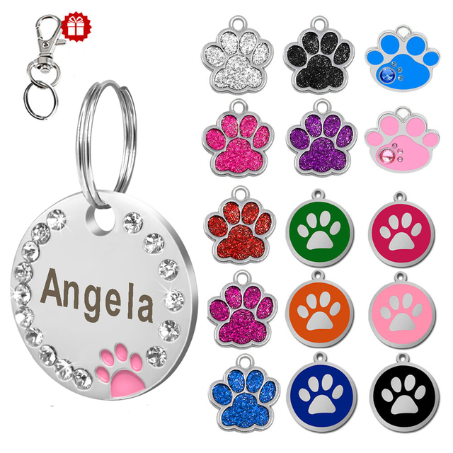 Custom Dog Tag Engraved Pet Dog Collar Accessories Personalized Cat Puppy ID Tag Stainless Steel Paw Name Tags Pendant Anti lost