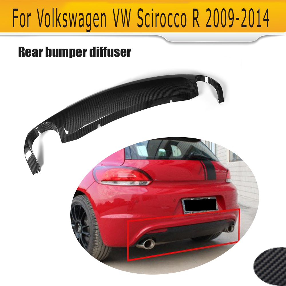 carbon fiber car rear bumper lip diffuser for Volkswagen VW Scirocco R 09-14 Non Standard Black FRP dual exhaust one out O Style