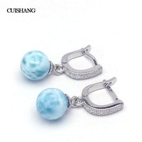 CSJ Natural Blue Larimar Drop Earring Sterling 925 Silver for Women Ladies Girls Wedding Engagement Party Gift Fine Jewelry