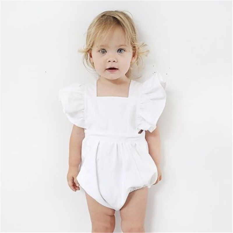 Baby Girls White Cotton Romper Newborn Infant Girls Sleeveless Bebes Romper 2018 New Hot Sale Jumpsuit Cute Summer Baby Clothing cute newborn baby girl clothes floral lace romper 2017 summer sleeveless infant bebes princess onepieces sunsuit outfit jumpsuit