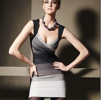 Top Quality Grey Blue Gradient Color V-neck Sleeveless Ladies Bandage Dress Sexy Party Dress