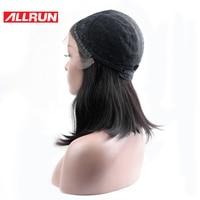 Allrun الشعر المنغولي غير ريمي الجزء الأوسط مستقيم قصير بوب الباروكات 100% شعرة الإنسان الكامل الرباط الباروكات اللون الطبيعي