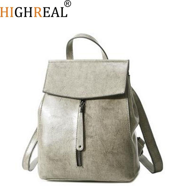 цены на HIGHREAL Fashion Brand Women Backpack Genuine Leather Backpacks For Girls Real Cowhide Leather Backpacks Mochila Feminina J55