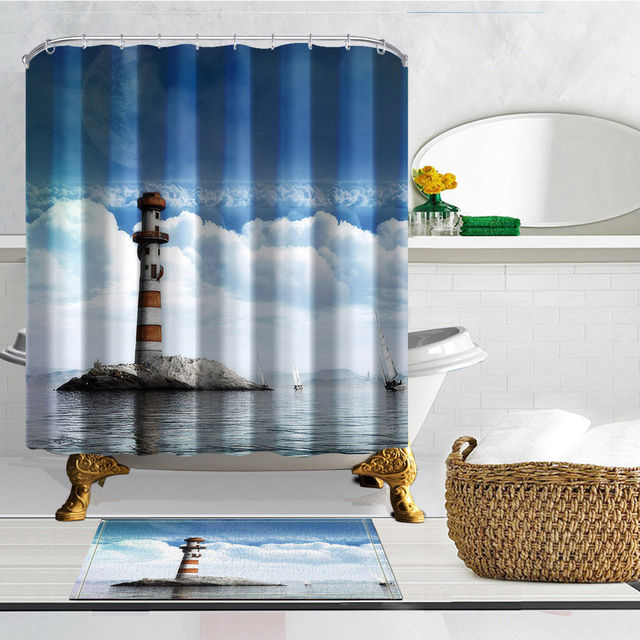 Lighthouse Seascape Shower Curtain Polyester Bathroom Curtains Waterproof Mildew Proof Bath Screens With 12 Hooks