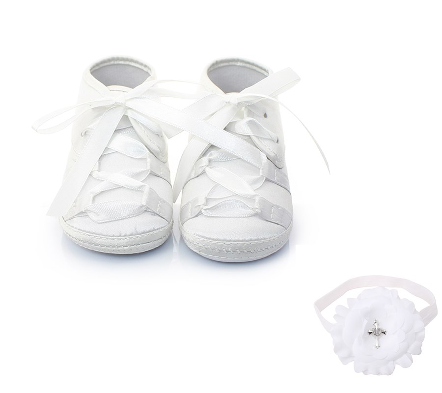 Delebao Christening Baptism Cross-tied Lace-up Newborn Baby Girl White Shoes + Baptism Hair Accessory For 0-12 Months
