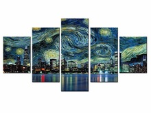 Wholesale 5 pieces / set of City series landscape wall art for decorating home Decorative painting on canvas framde City-96