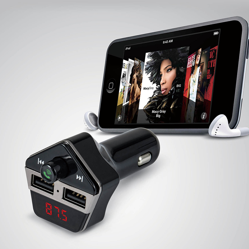 Car Styling Bluetooth Car Kit Wireless FM Transmitter Modulator Hands-free U Disk Mp3 Player Dual USB Car Charger Voice Prompts