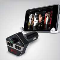 Car Styling Bluetooth Car Kit Wireless FM Transmitter Modulator Hands free U Disk Mp3 Player Dual USB Car Charger Voice Prompts