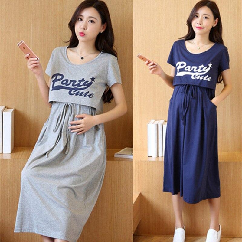 a1763de6f4bd Θηλυκό φόρεμα μητρότητας Θηλασμός δύο τεμαχίων κοντό μάλμομα Ρούχα ...