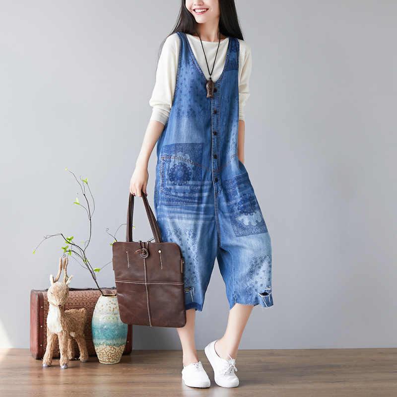 Для женщин летнее платье с цветочным принтом джинсовые костюмы, Комбинезоны женские свободные милые джинсы комбинезоны цельнокроеные джинсовые штаны легкий костюм с шортами