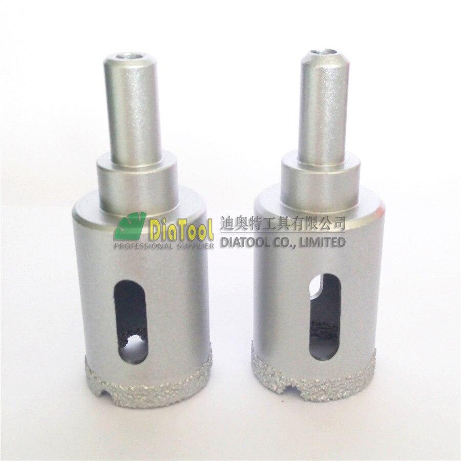 DIATOOL 2 stücke Dia25mm Vakuum Gelöteten Bohrkronen Mit Round Shank, bohren Bits Für Stein, glas, keramik frei-verschiffen