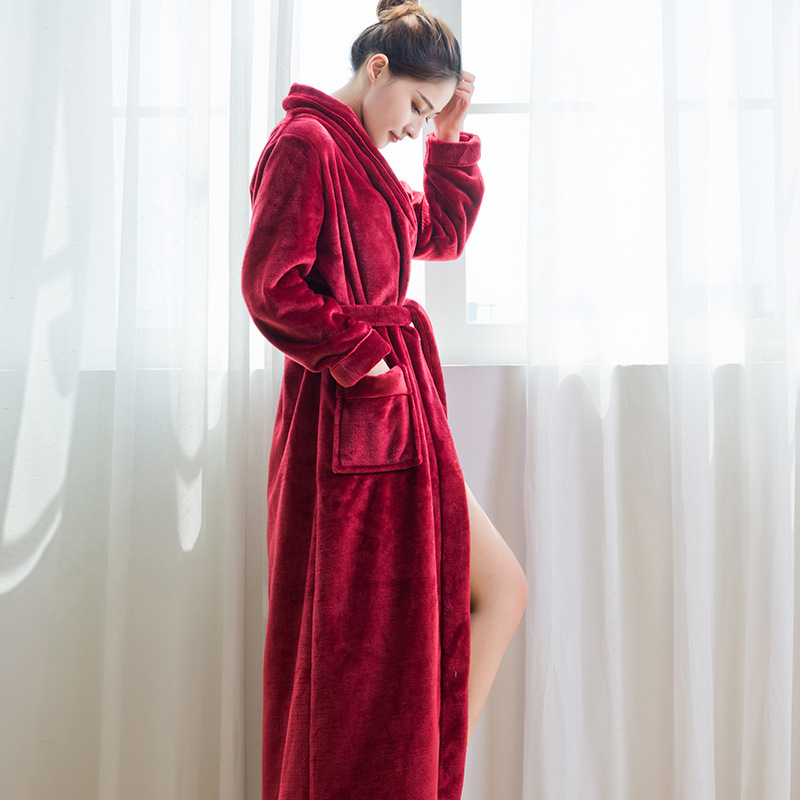 55ba7a64dd BabYoung Winter Warm Bathrobes For Women Bath Robe Long Ladies Lingerie  Kimono Femme Lightweight Wedding Bride Bridesmaid Robes-in Robes from  Underwear ...
