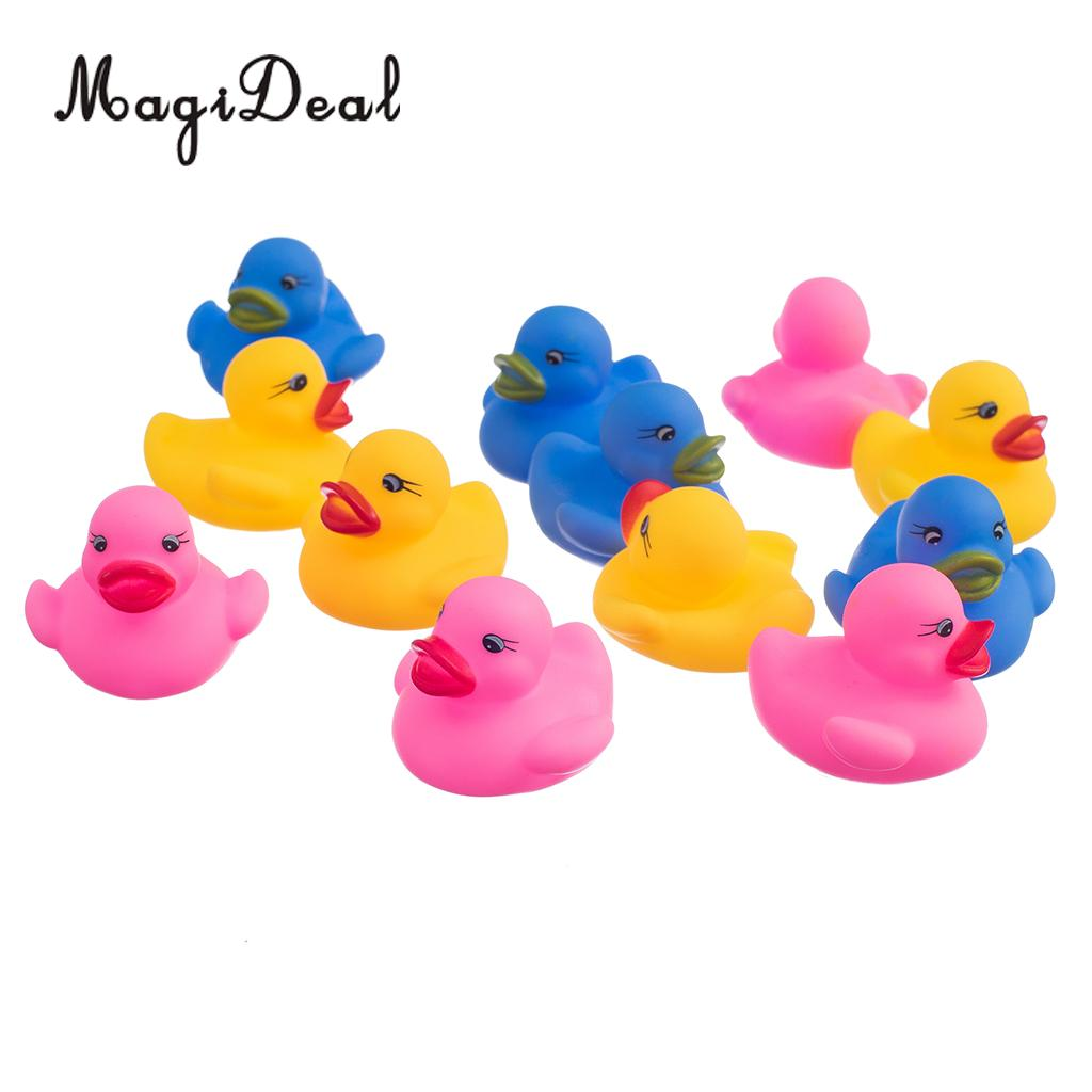 MagiDeal 12Pcs/Pack Swimming Rubber Squeeze Squeak Ducks for Bathroom Swimming Pool Baby Shower Kids Children Bath Cute Toys