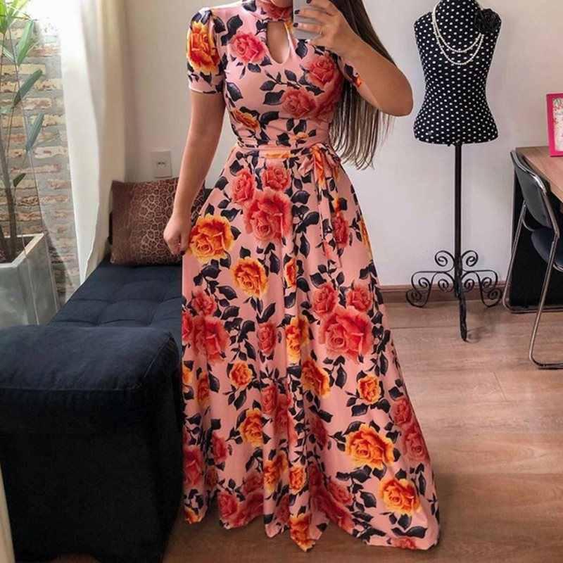 花柄ヴィンテージ夏半袖ロングドレス中空タートルネック大ビッグプラスサイズヒョウマキシドレスレトロ