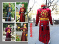 Мужская мода Древние Китайские Одежды Для Принца Китайской династии Цин Стиль С Hat Мужчины Халат Китайский Традиционная Одежда