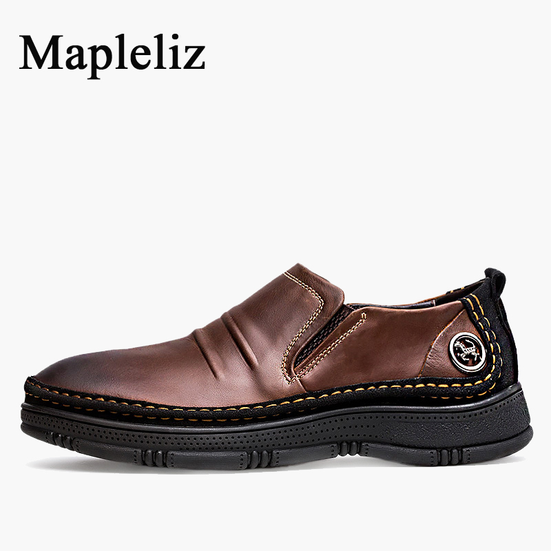 Mapleliz Brand Breathable Slip-On Solid Moccasins Shoes For Men Full Grain Leather High Quality Driving Soft Flat Men Shoes 2017 brand men s penny loafes casual men s full grain leather emboss crocodile driver shoes slip on breathable moccasins for men