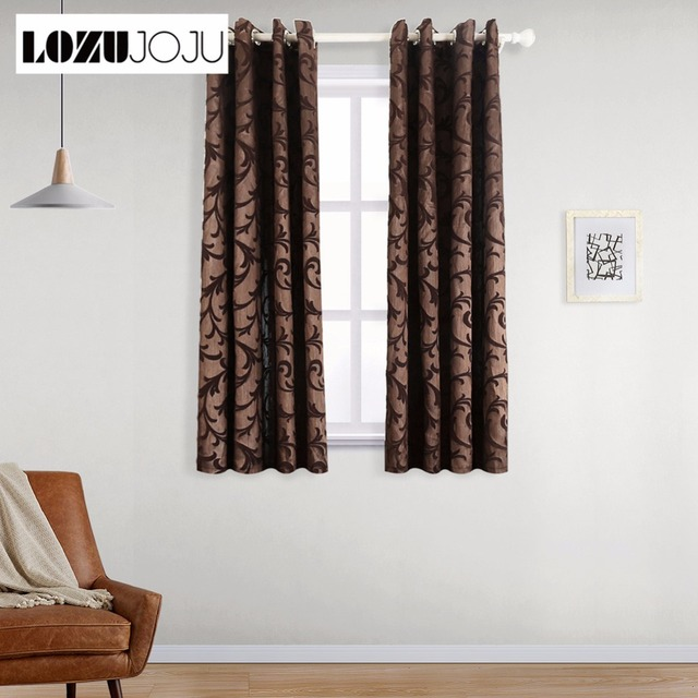 Lozujoju Short Blackout Curtains For Bedroom Living Room Thread Leaves Design Brown Curtain Drapery Fabric