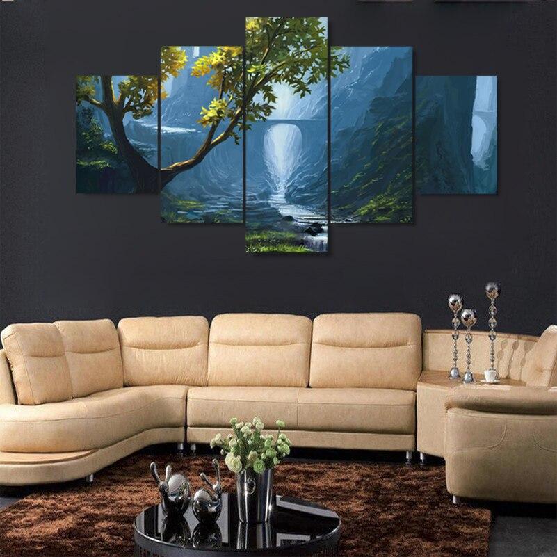 No Framed) Fantasy Nature 5 Panels Brook Home Decoration Prints ...